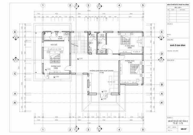 bản vẽ tầng 2 biệt thự tân cổ điển 3 tầng 15x19m