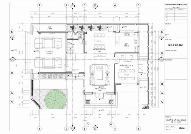 bản vẽ tầng trệt biệt thự tân cổ điển 3 tầng 15x19m