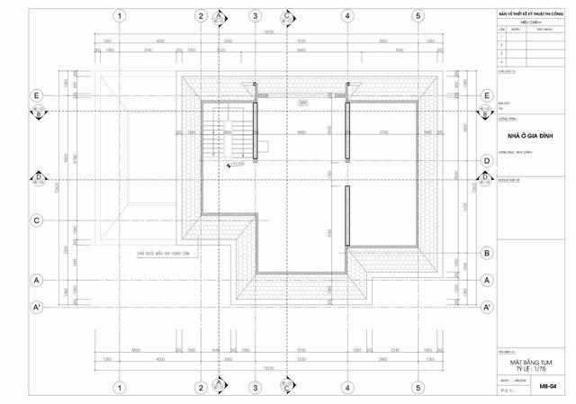 bản vẽ tầng tum biệt thự tân cổ điển 3 tầng 15x19m