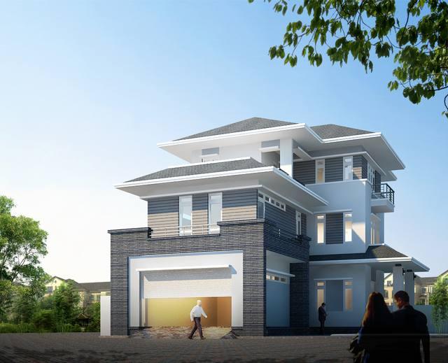 mẫu thiết kế biệt thự tân cổ điển 3 tầng 15x19m