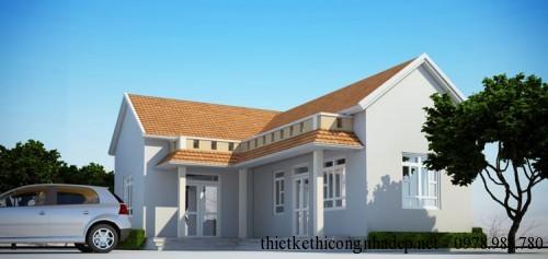 Thiết kế nhà cấp 4 mái thái hình chữ l đẹp - Hình 1