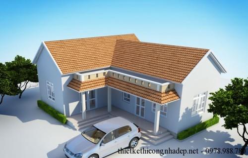 Thiết kế nhà cấp 4 mái thái hình chữ l đẹp - Hình 2