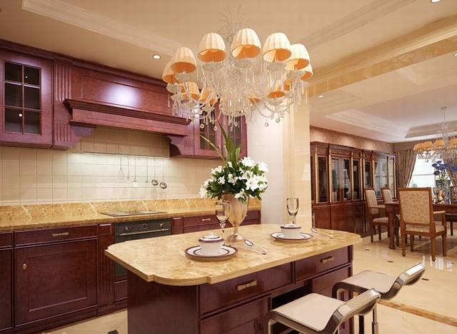 phòng bếp ăn biệt thự tân cổ điển 3 tầng 15x19m
