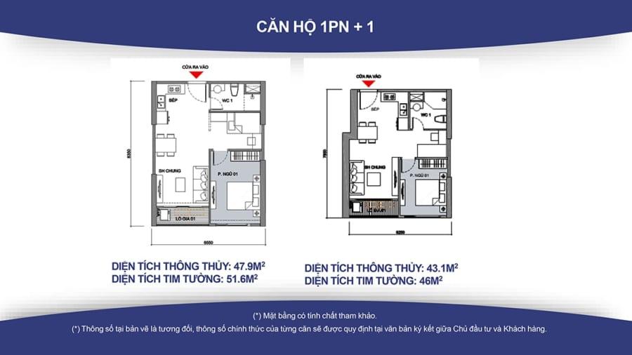 thiết kế căn hộ 1 phòng ngủ Vinhomes Smart City
