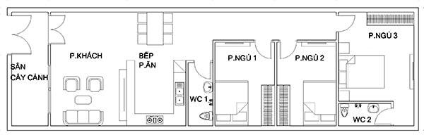 bản vẽ nhà cấp 4 5x20 3 phòng ngủ