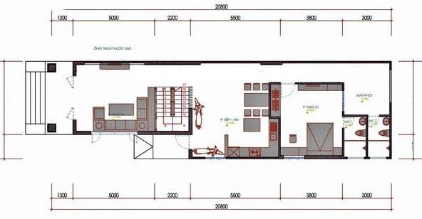 nhà cấp 4 có gác lửng 3 phòng ngủ 5x20
