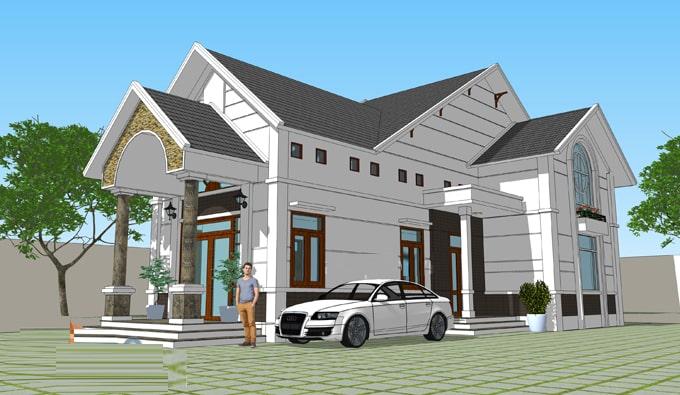 thiết kế nhà 1 tầng 3 phòng ngủ 5x20