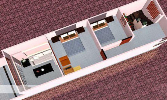 Phối cảnh mẫu thiết kế nhà cấp 4 diện tích 4×12