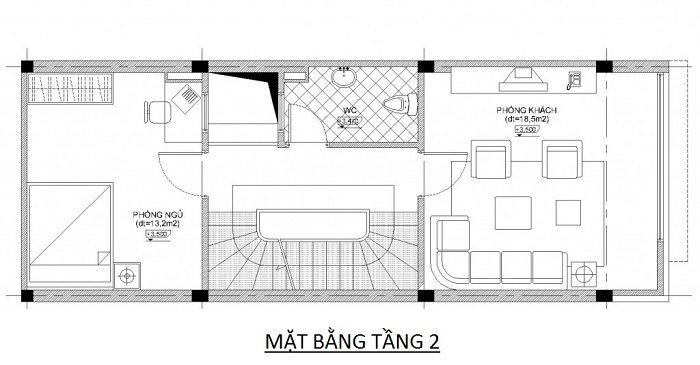 Bản vẽ mặt bằng nhà phố 5 tầng 4x10